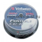 Диск CD-R VERBATIM 700MB 52x Printable 25шт Cake Box